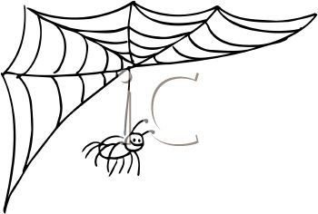 350x236 Royalty Free Clip Art Image Spider Hanging From It's Web