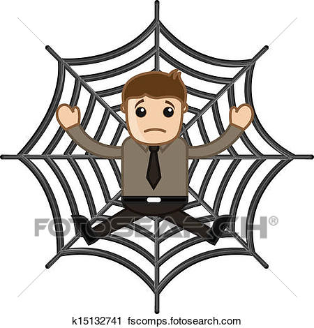 450x470 Clipart Of Man Stuck In Spider Web K15132741
