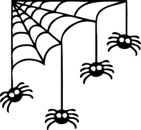 450x416 Corner Spider Web Halloween Decal