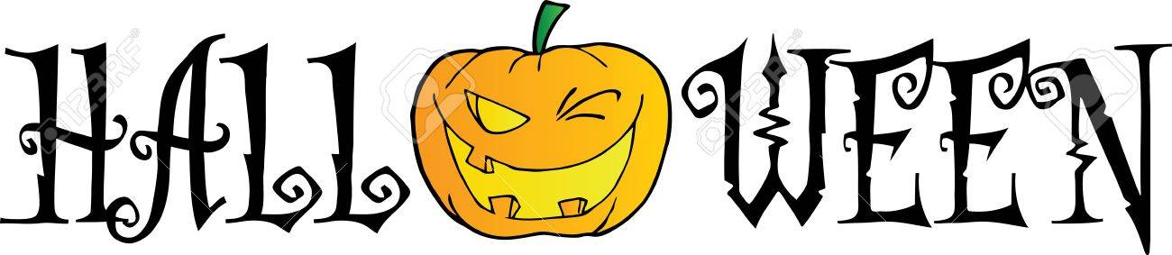 1300x283 Halloween Text With Pumpkin Winking Royalty Free Cliparts, Vectors