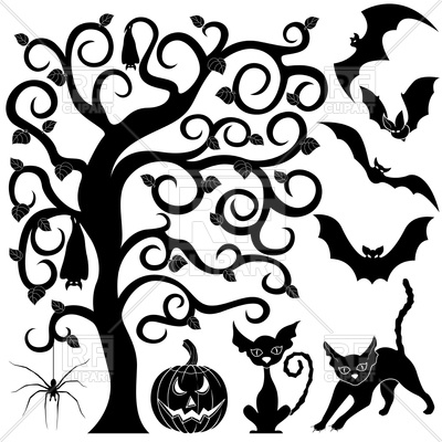400x400 Halloween black silhouettes set of bats, cats, pumpkin and spider