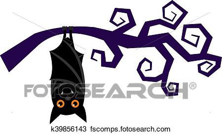 450x273 Clipart Of Cartoon Halloween Bat Hanging On Tree Branch Vector