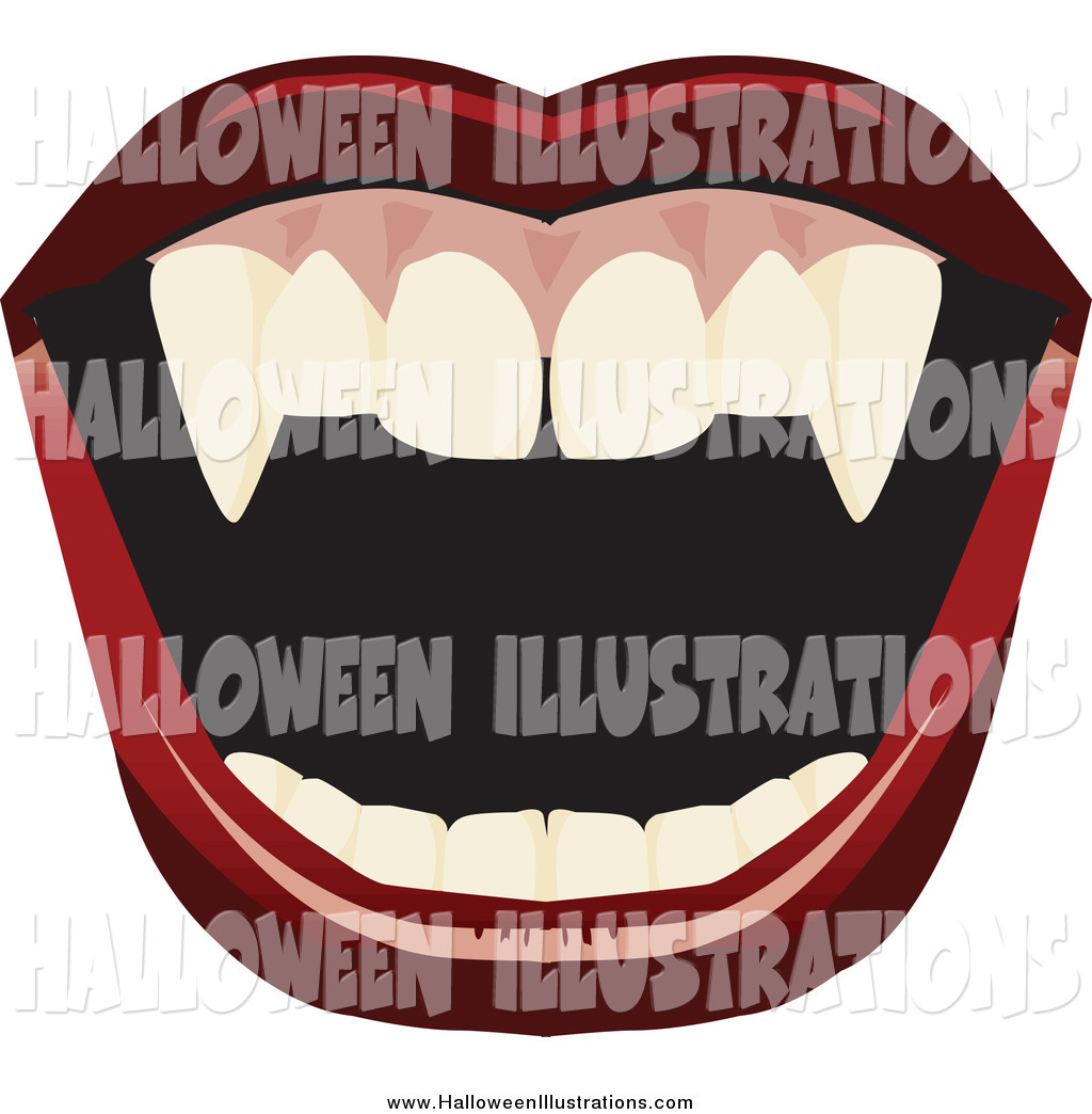 1024x1044 Clip Art Of A Open Mount With Red Lips And Vampire Fangs By Dennis