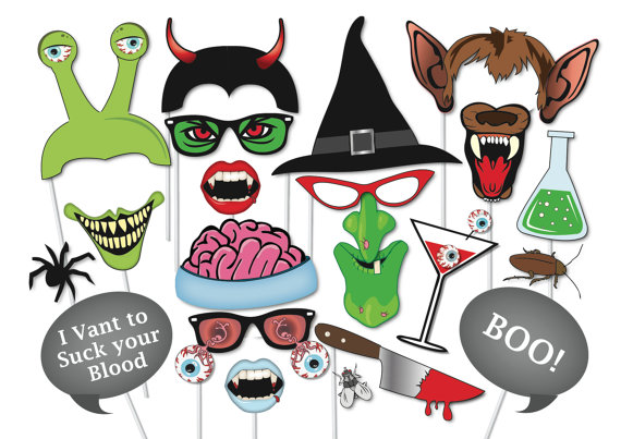 570x403 Halloween Photo Booth Props Set 37 Piece Printable Witch