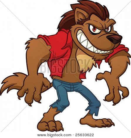 446x470 Cartoon Werewolf. Vector Illustration With Simple Gradients. All