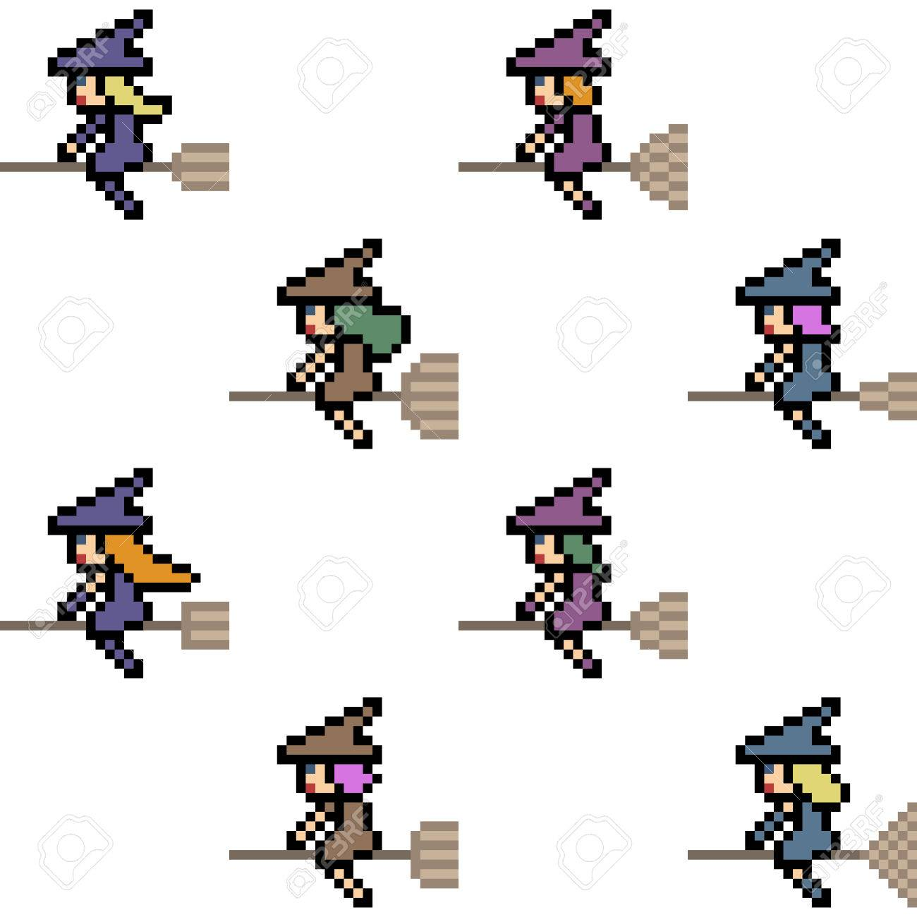 1300x1300 Vector Pixel Art Halloween Witch Isolated Royalty Free Cliparts
