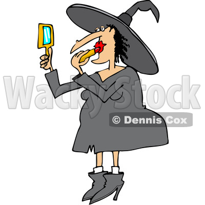 400x400 Of A Cartoon Chubby Halloween Witch Applying Lipstick