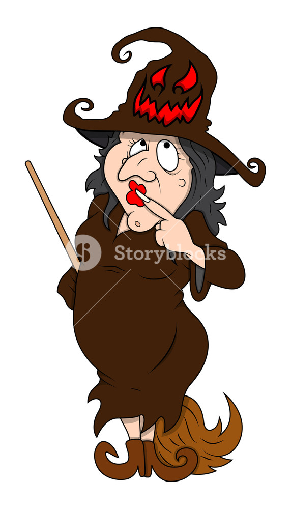 572x1000 Fat Ugly Witch Standing With Broom Stick