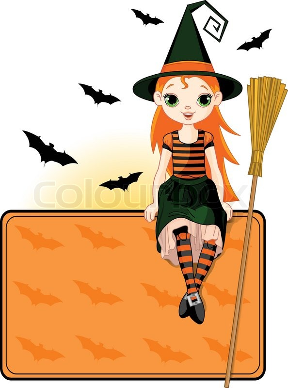 594x800 Little Halloween Witch Place Card Stock Vector Colourbox