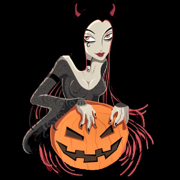 600x600 Witch With Pumpkin