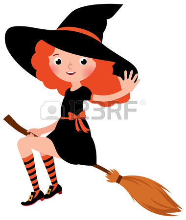 380x450 Beautiful Witch Flying On Broomstick. Illustration Of Sexy Woman