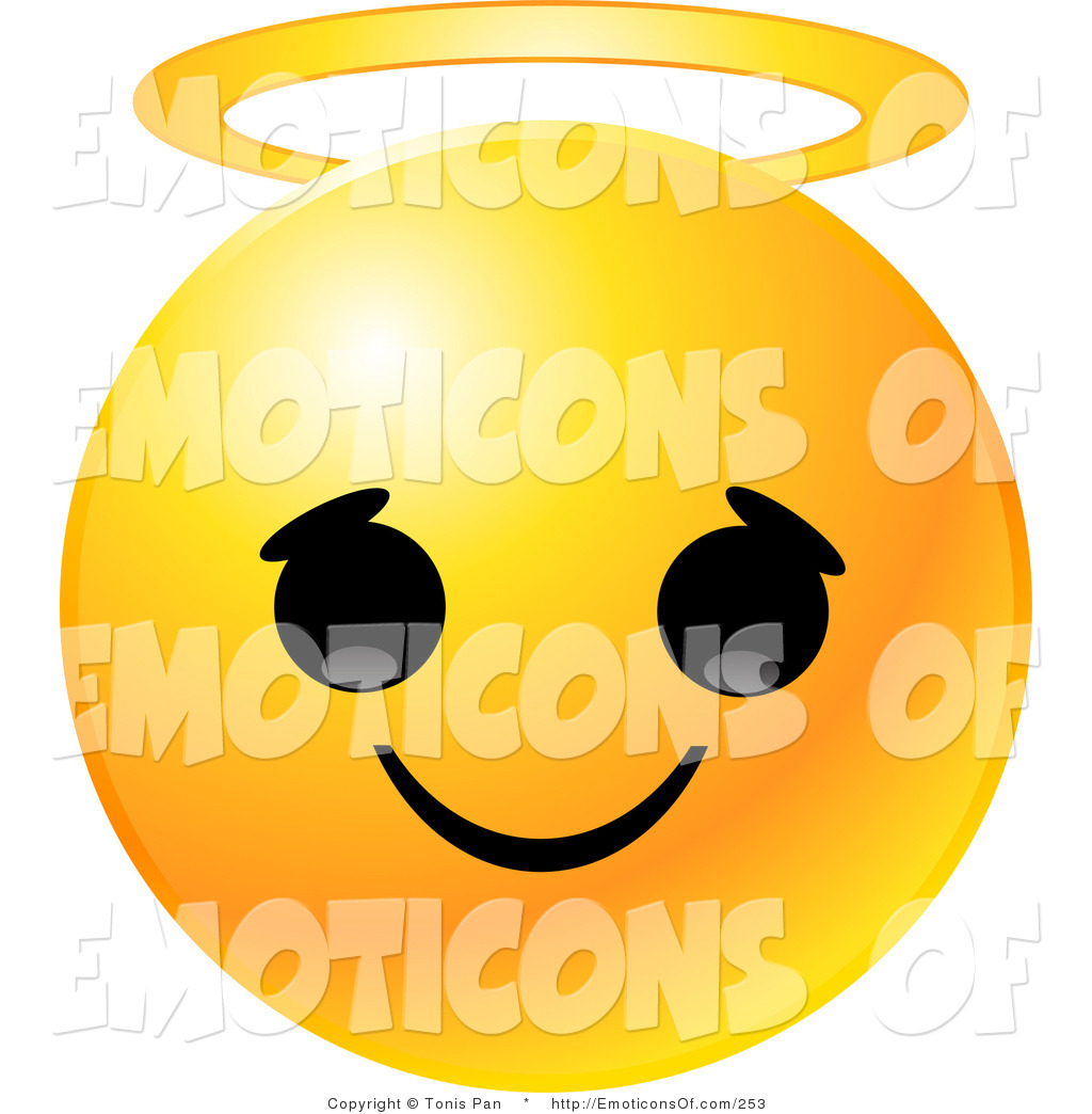 1024x1044 Clip Art Vector Of A Yellow Emoticon Face With An Innocent