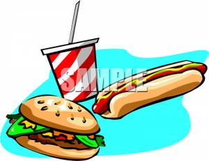 300x231 Art Image A Hamburger And Hot Dog With A Soft Drink