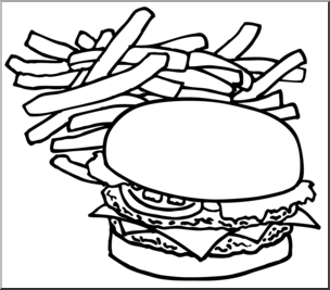 304x267 Clip Art Hamburger Amp Fries Bampw I Abcteach