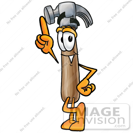 450x450 Clip Art Graphic Of A Hammer Tool Cartoon Character Pointing