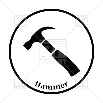 400x400 Thin Circle Design Icon Of Hammer Royalty Free Vector Clip Art