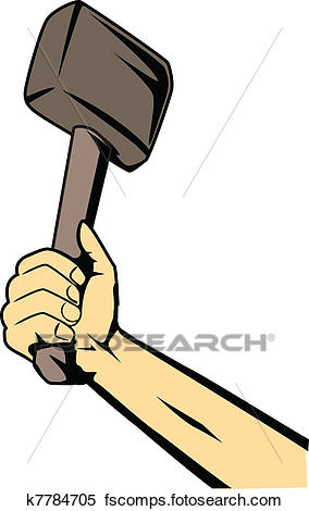 284x470 Clipart Of Hand With Hammer K7784705