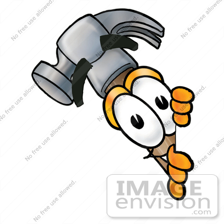 450x450 Clip Art Graphic Of A Hammer Tool Cartoon Character Peeking Around
