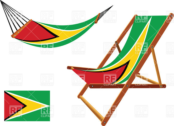 665x480 Guyana Flag Hammock And Deck Chair Set Royalty Free Vector Clip