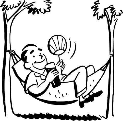 500x491 Man In Hammock Vector Drawing Public Domain Vectors
