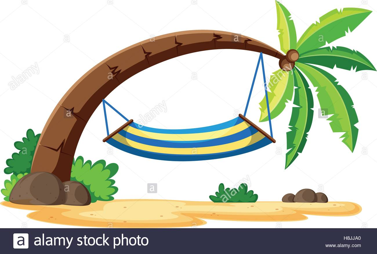1300x876 Scene With Hammock On Coconut Tree Illustration Stock Vector Art