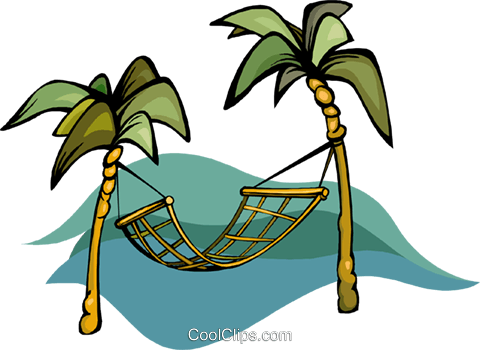 480x350 Hammock Between Palm Trees Royalty Free Vector Clip Art