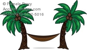 300x172 Art Illustration Of A Hammock Between Two Palm Trees