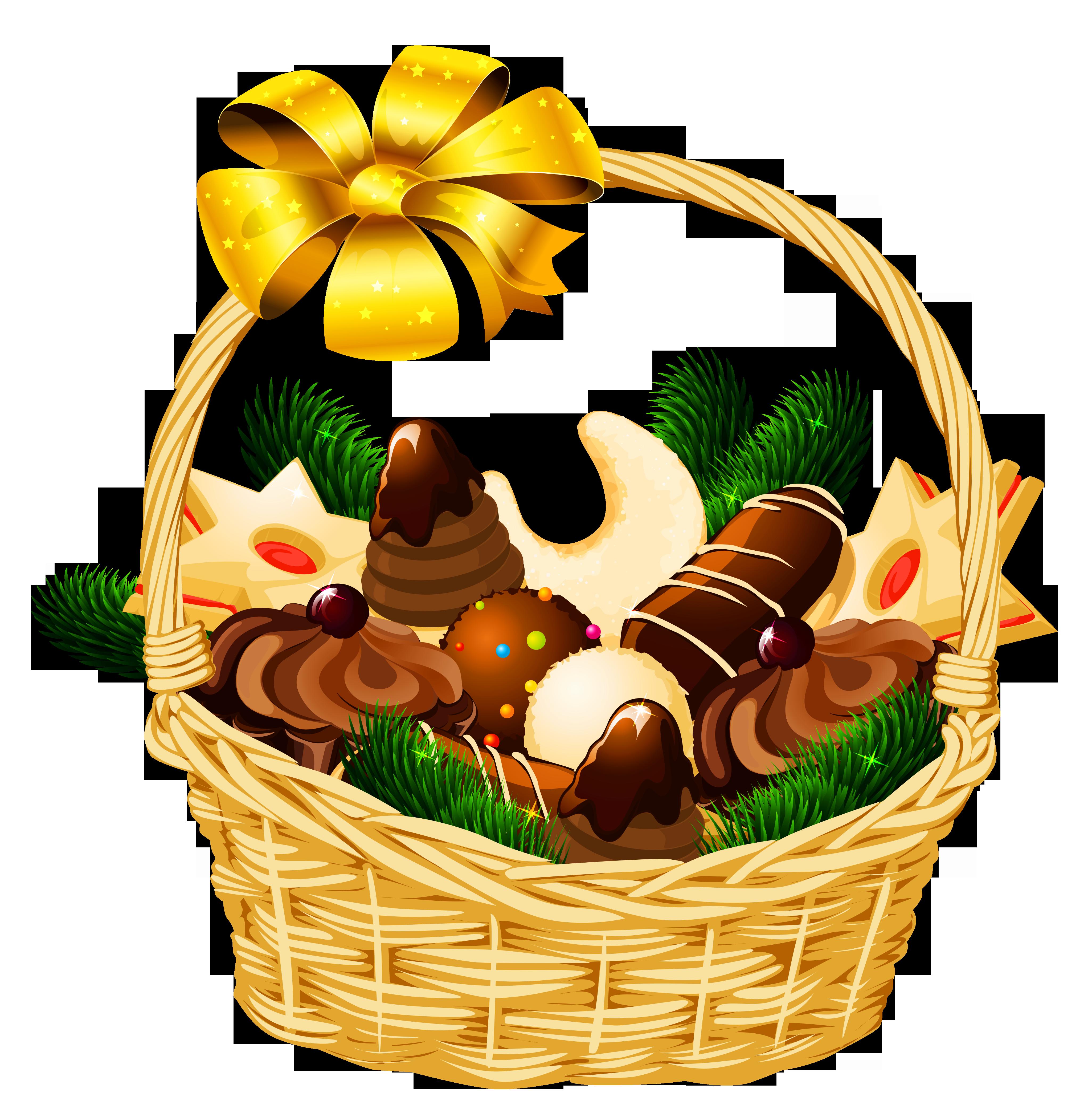 4101x4193 Basket Clipart Christmas Hamper