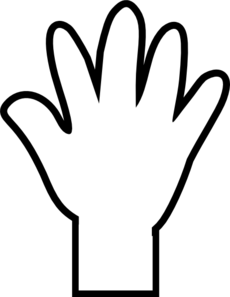 230x297 White Hand Print Clip Art
