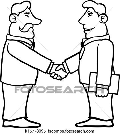 421x470 Clipart Of Black And White Business Men Shaking Hands K15778095