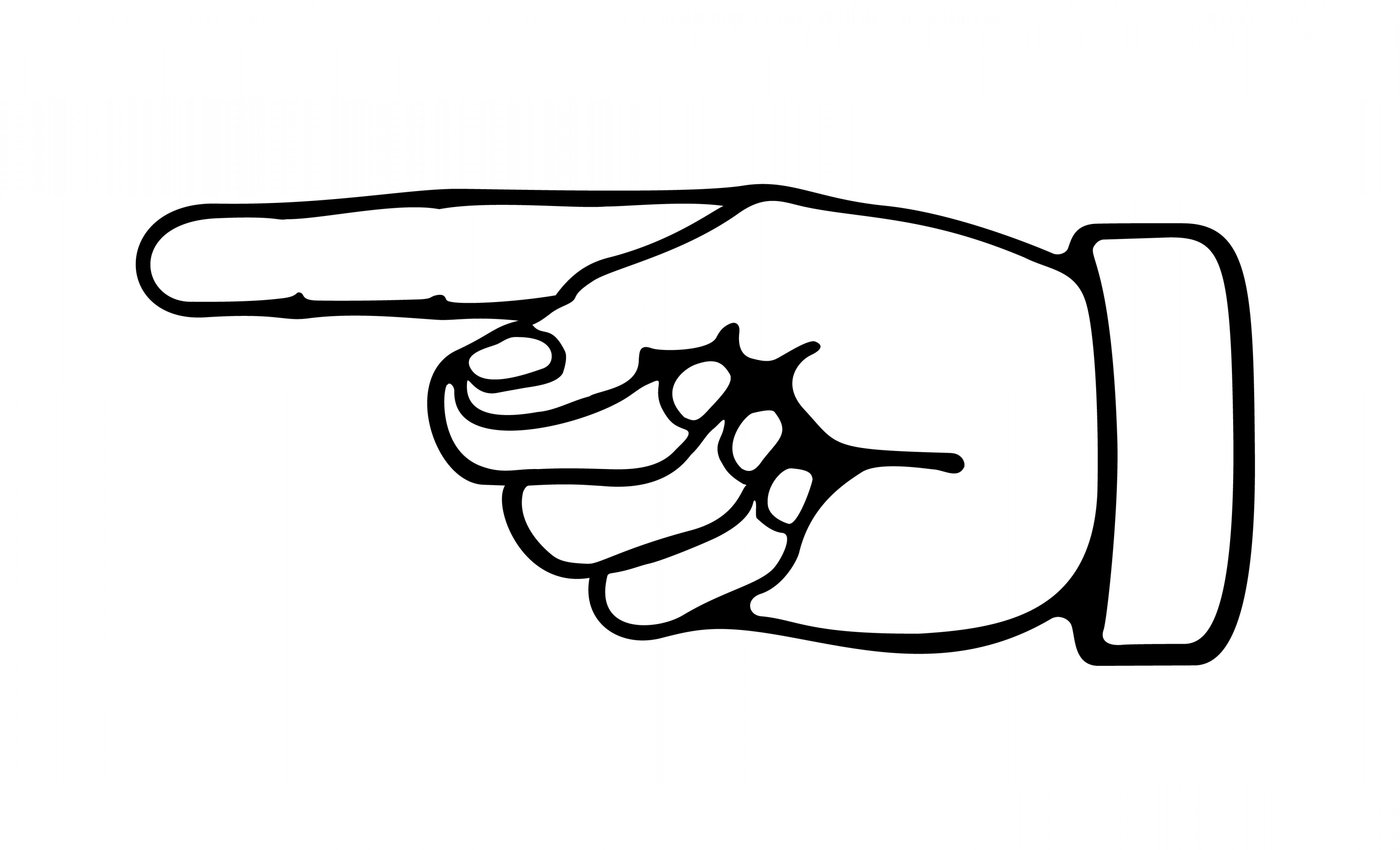 4389x2664 Black And White Hand Pointing Clipart