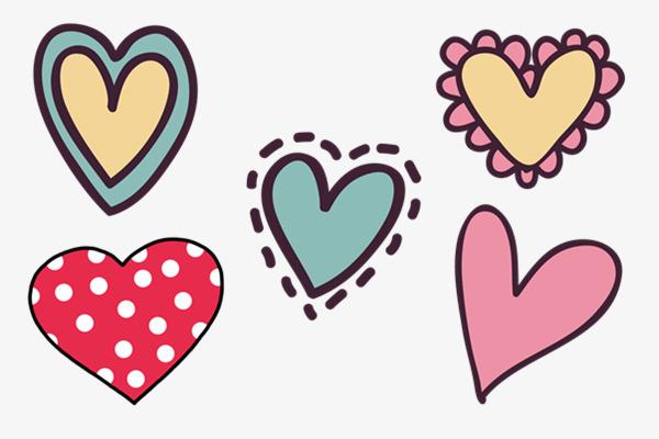 600x400 Hand Drawn Heart Shaped Sticker, Cartoon, Simple, Heart Shaped Png