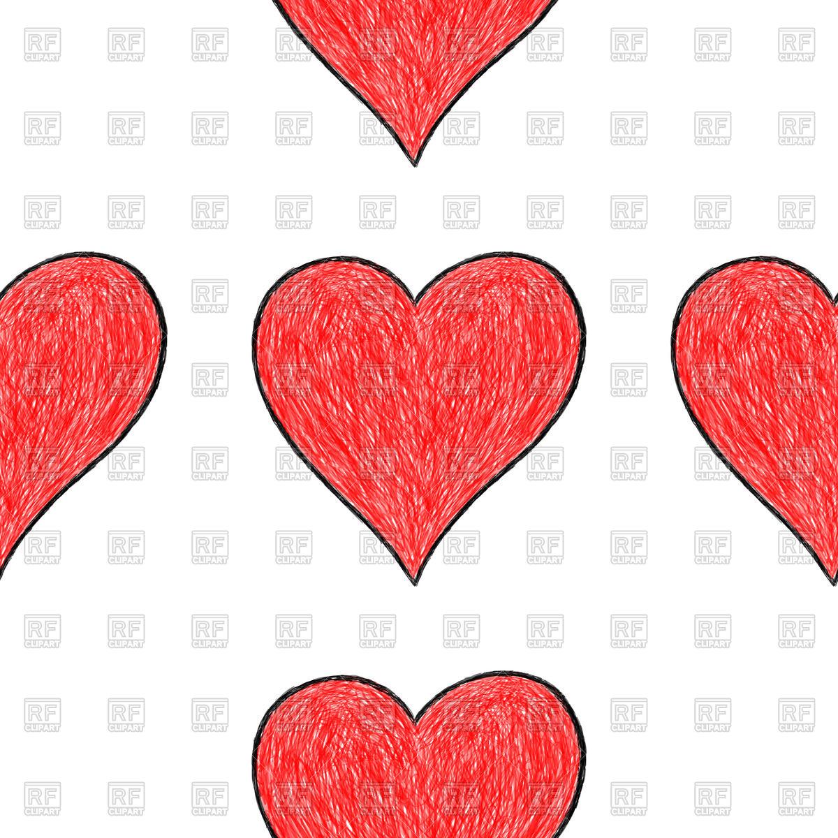 1200x1200 Hand Drawn Seamless Heart Pattern Royalty Free Vector Clip Art