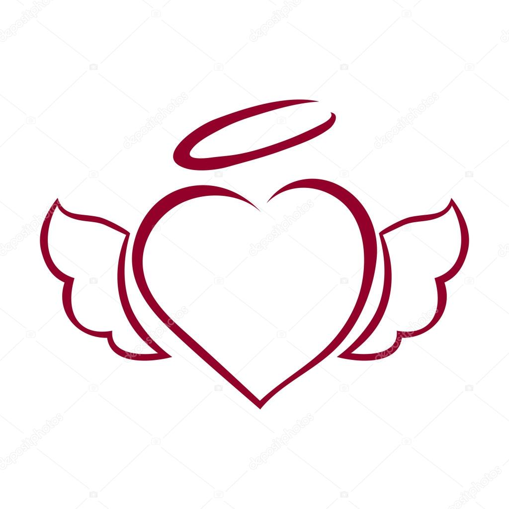 1024x1024 Vector Hand Drawn Heart With Wings And Halo On Top Stock Vector