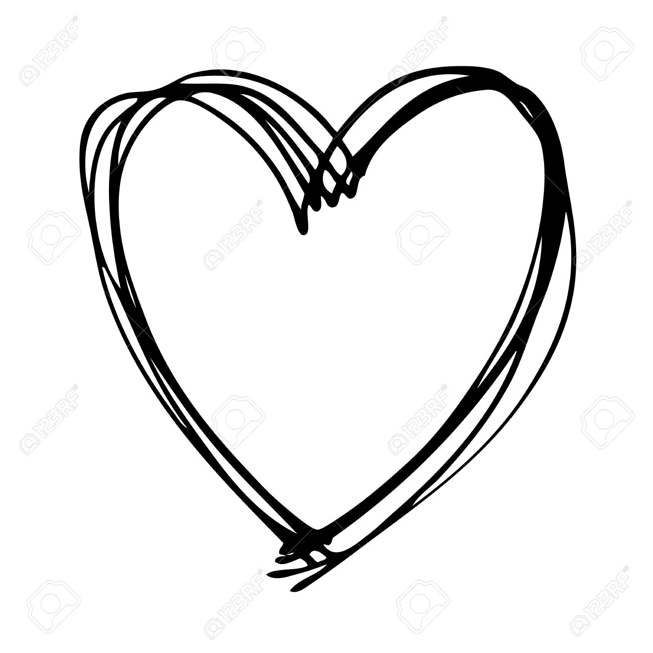 1300x1300 Doodle Hand Drawn Heart Shaped On White Background Royalty Free
