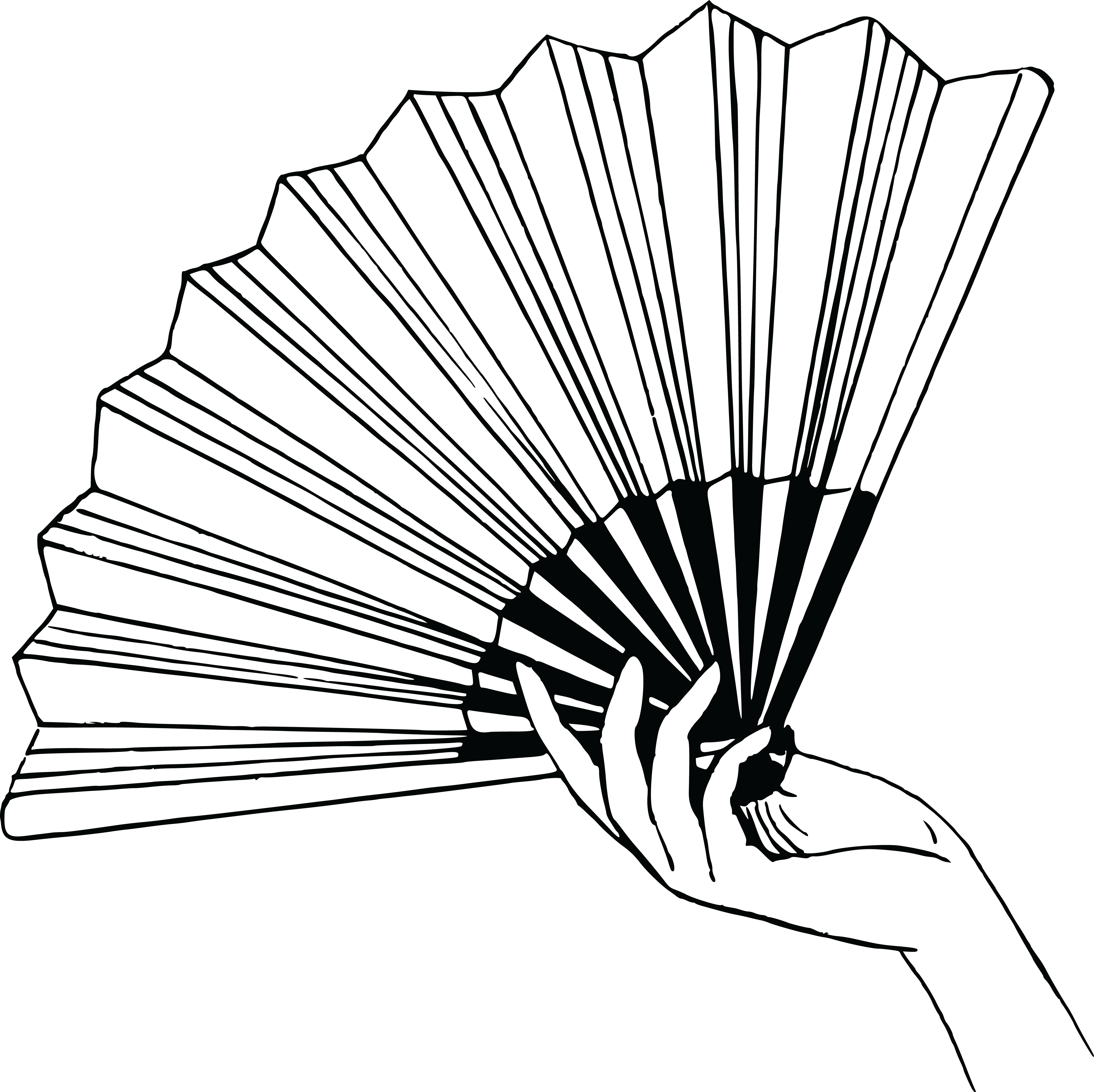 4000x3991 Free Clipart Of A Hand Holding A Fan