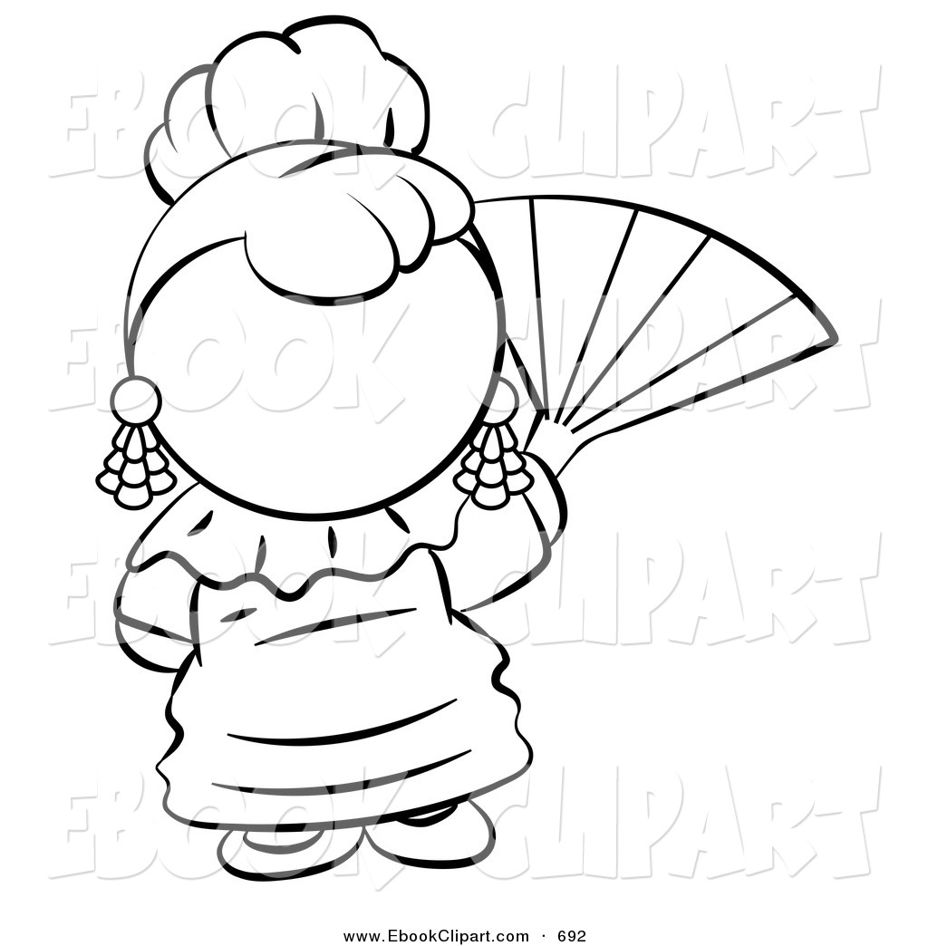 1024x1044 Vector Clip Art Of A Black And White Human Factor Spanish Woman