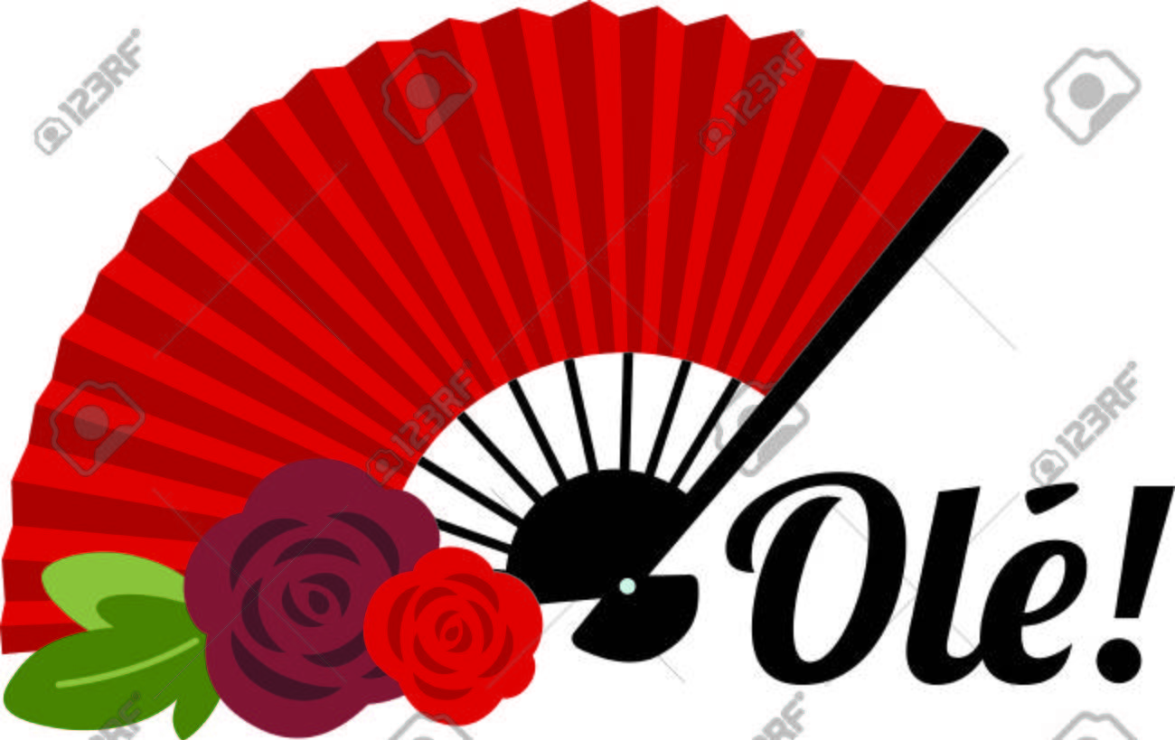 1300x819 Celebrate Spanish Culture With Flamenco Fan. Royalty Free Cliparts