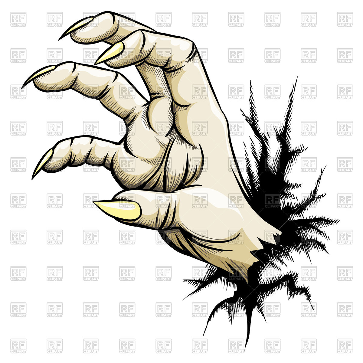 1200x1200 Grabbing Zombie Hand With Claws Royalty Free Vector Clip Art Image