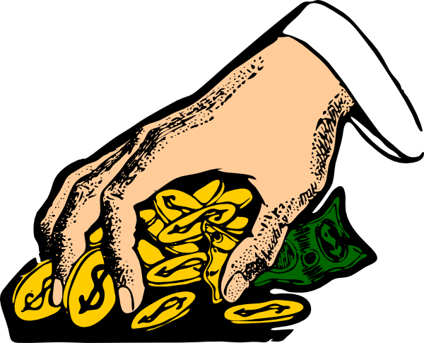 600x485 Hand Grabbing Gold Coins Clip Art