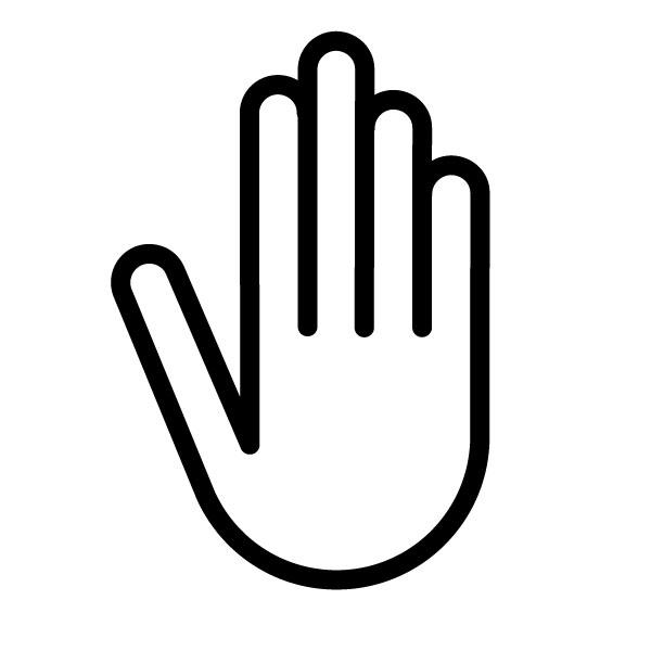 600x600 Stop Hand Symbol Free Graphic, Pictogram, Icon, Visual, Image