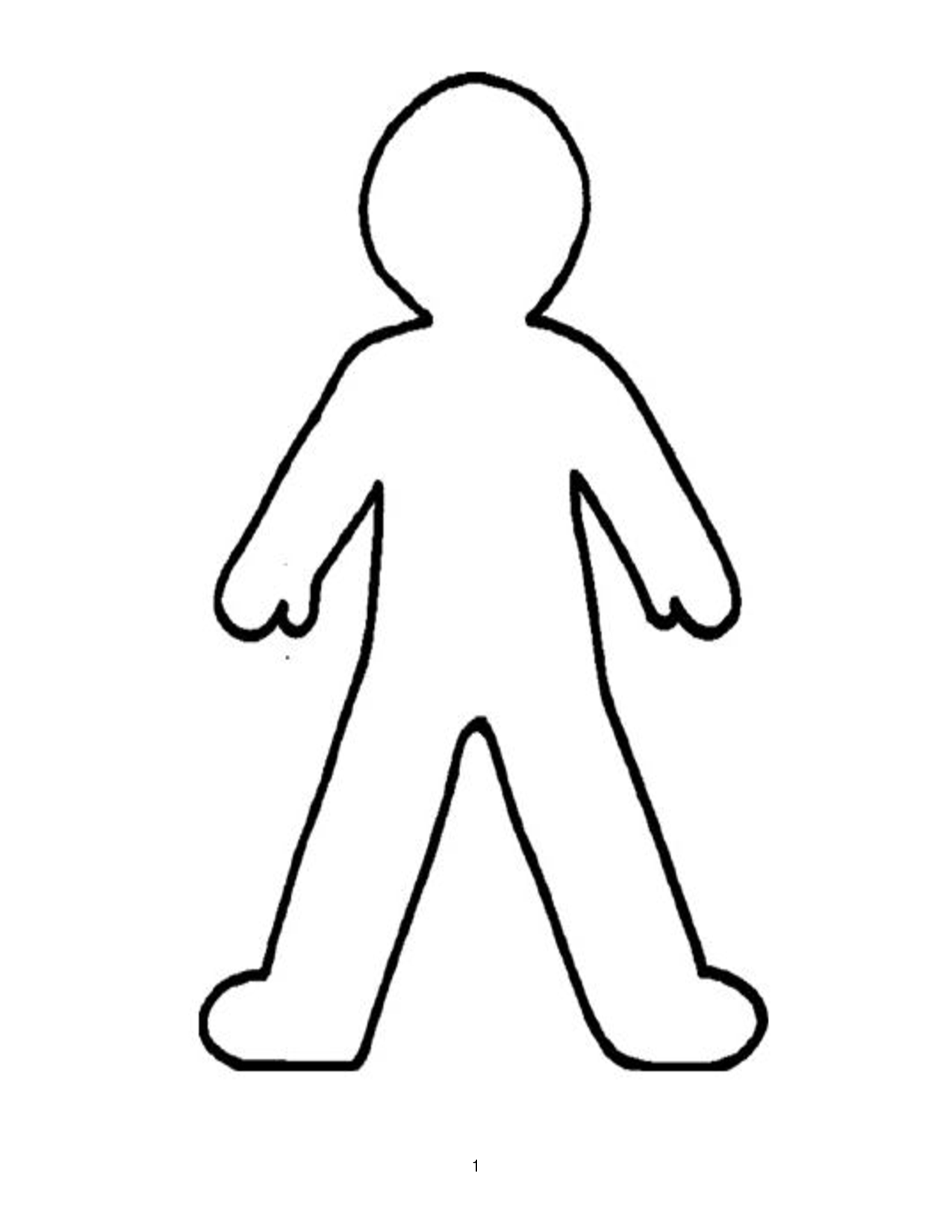 1275x1650 Free Clipart Human Outline