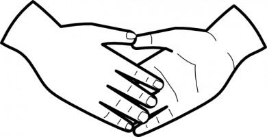 390x200 Hand Outline Clipart Kid