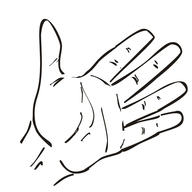 800x800 Hand Outline Template Printable Clipart Image
