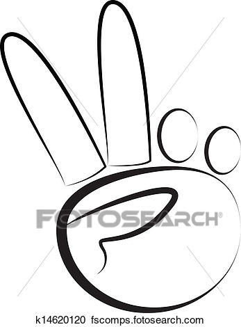 347x470 Clipart Of Hand Peace Symbol Logo Vector K14620120