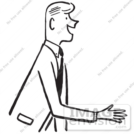450x450 Cartoon Of A Salesman Or Gentleman Reaching Out To Shake Hands