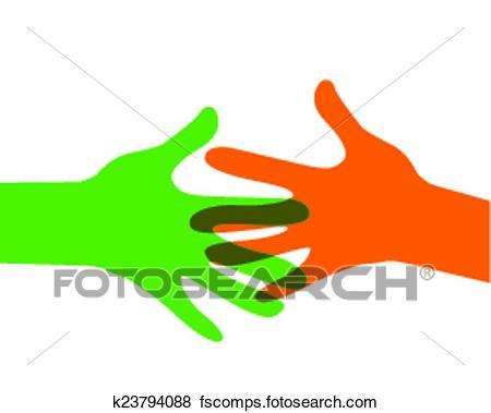 450x379 Clip Art Of Hands Reaching Out K23794088
