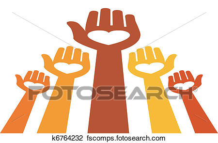 450x295 Clipart Of Reaching Out For Love Vector. K6764232
