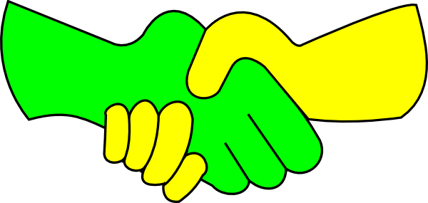 600x285 Green And Yellow Handshake Clip Art