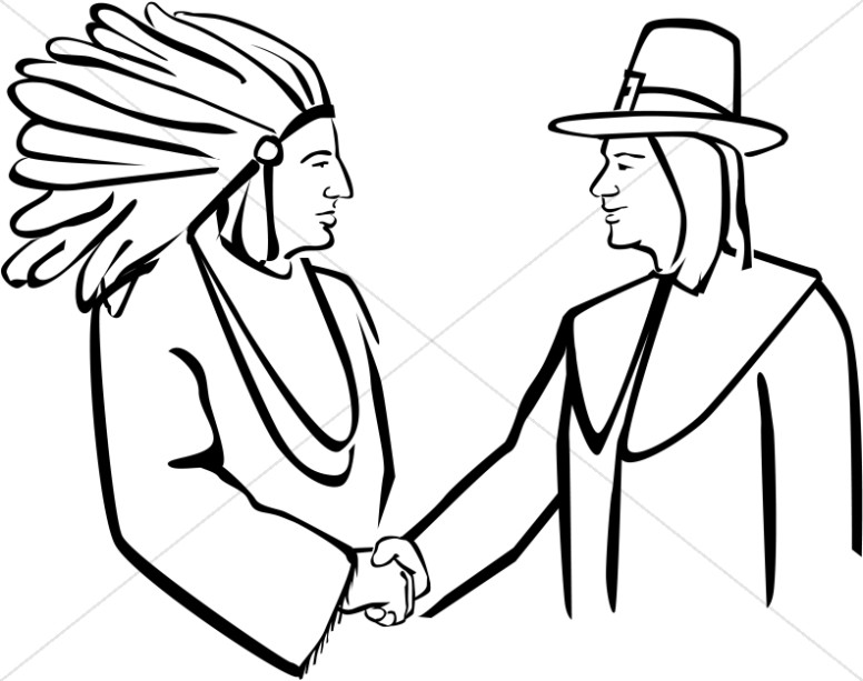 776x613 Pilgrim And Native American Shake Hands Thanksgiving Clipart
